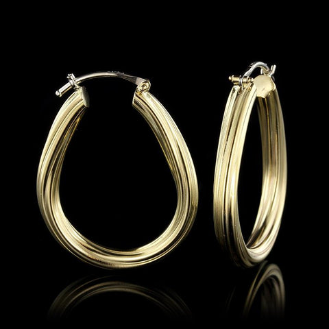 18K Yellow Gold Estate Oval Ribbed Hoop Earrings