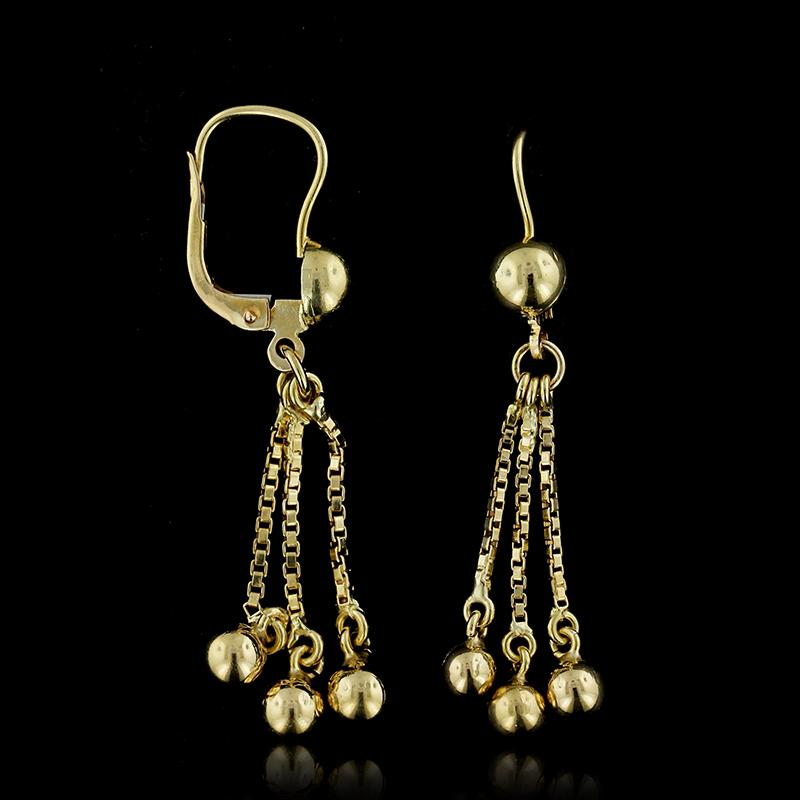 14K Yellow Gold Bead Earrings