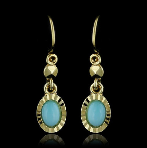 14K Yellow Gold Blue Glass Earrings