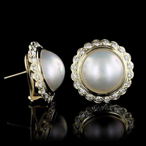 14K Yellow Gold Estate Cultured Mabe Pearl and Diamond Earrings