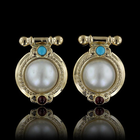 14K Yellow Gold Mabe Pearl, Turquoise and Garnet Earrings