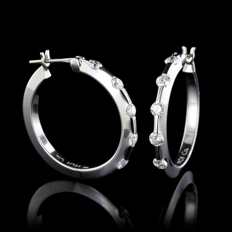 Hearts on Fire 18K White Gold Diamond Hoop Earrings