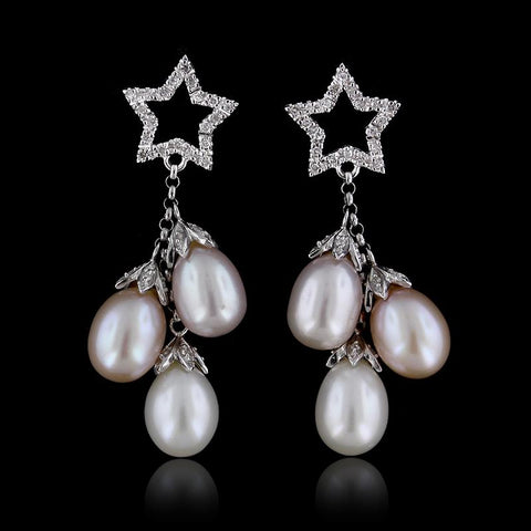 14K White Gold Cultured Freshwater Pearl and Diamond Earrings