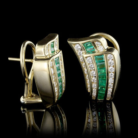 18K Yellow Gold Emerald and Diamond Earrings
