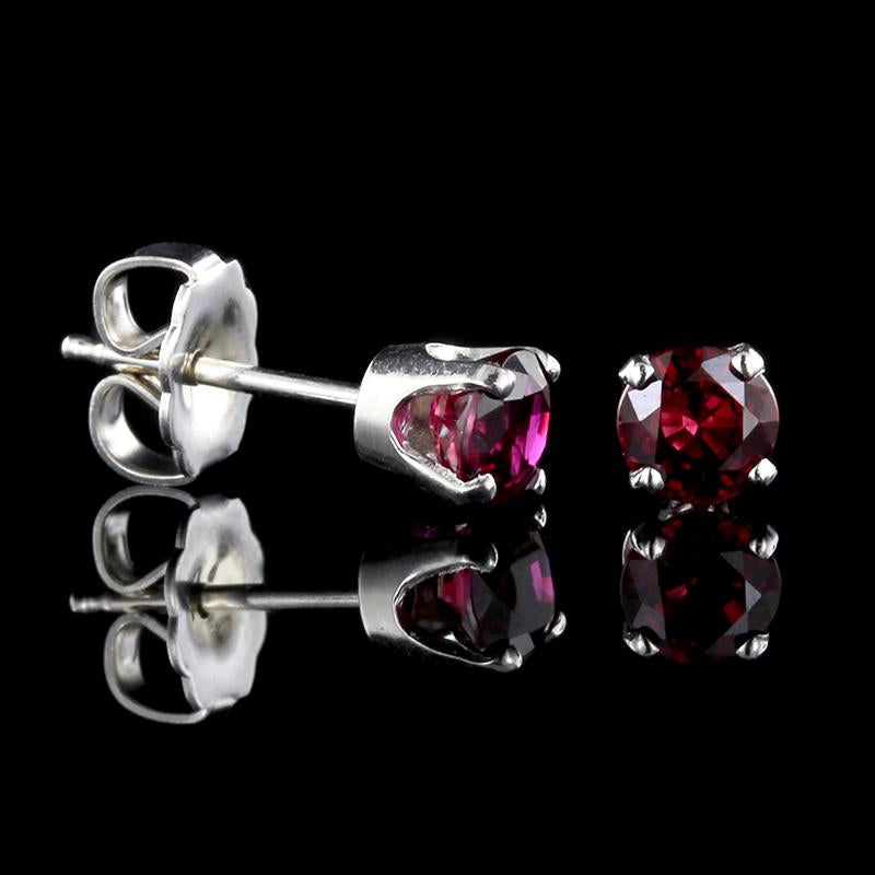14K White Gold Ruby Studs