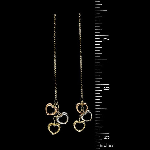 14K Tricolor Gold Heart Drop Earrings