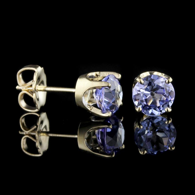 14K Yellow Gold Tanzanite Studs
