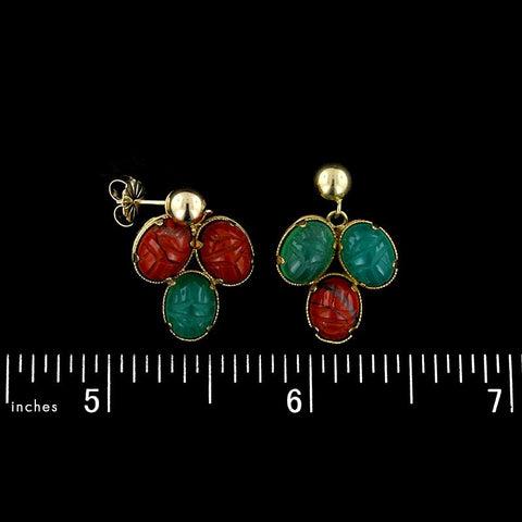14K Yellow Gold Scarab Earrings