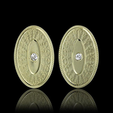 14K Yellow Gold Oval Earrings with Diamonds