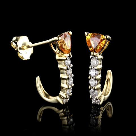 14K Yellow Gold Orange Garnet and Diamond Earrings