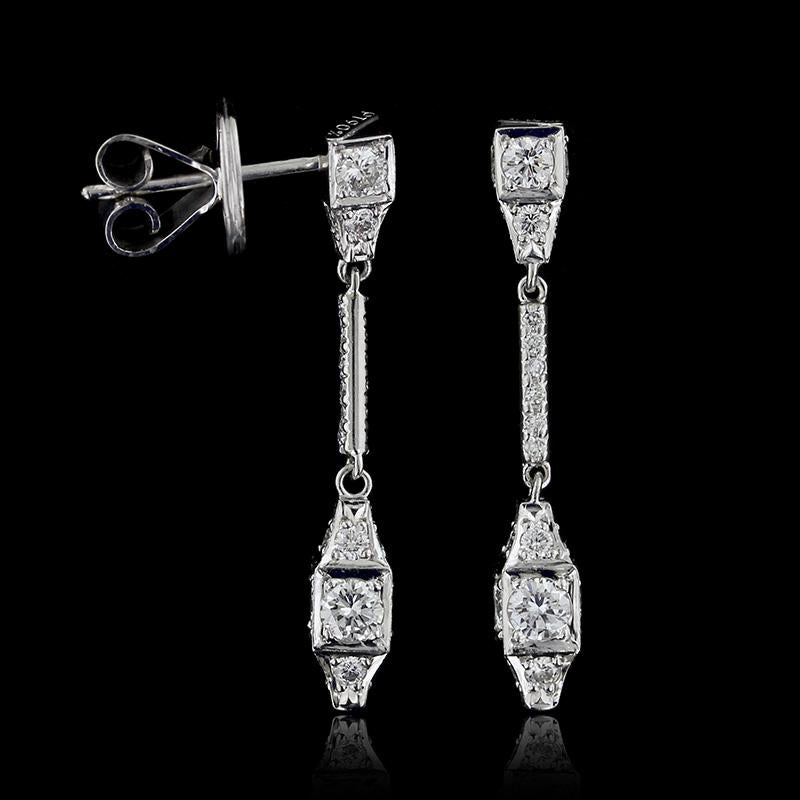 Michael B. Platinum Diamond Sugar Cube Earrings