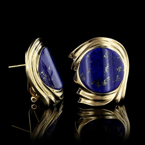 18K Yellow Gold Estate Lapis Earrings