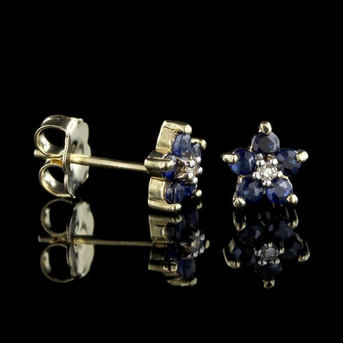 14K Yellow Gold Sapphire and Diamond Flower Earrings