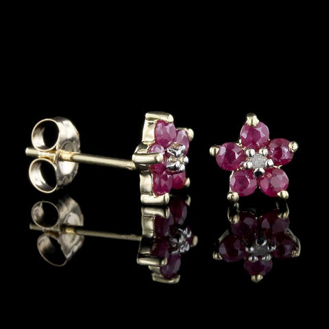 14K Yellow Gold Ruby and Diamond Flower Earrings