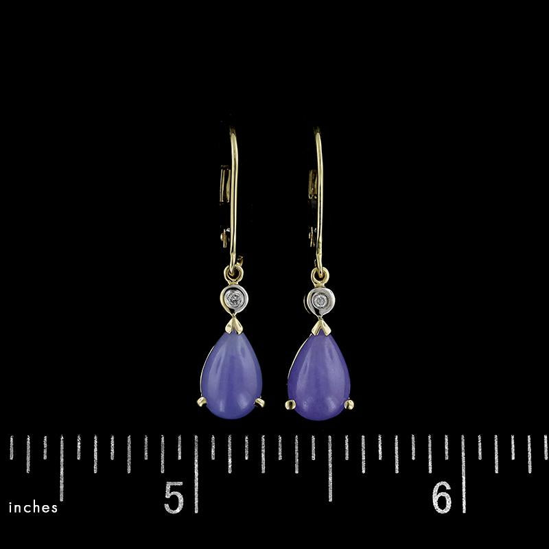 14K Yellow Gold Lavender Jadeite and Diamond Drop Earrings