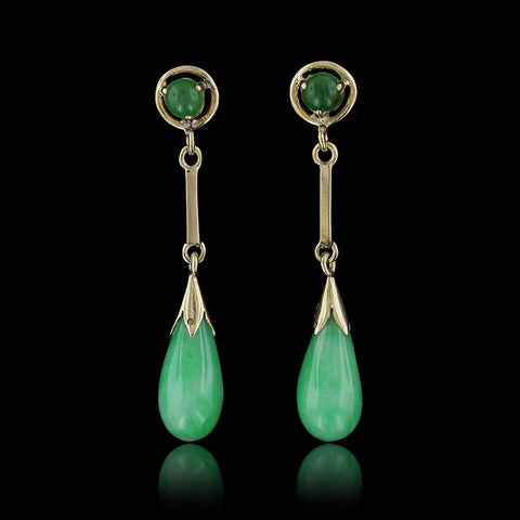 14K Yellow Gold Jadeite Earrings