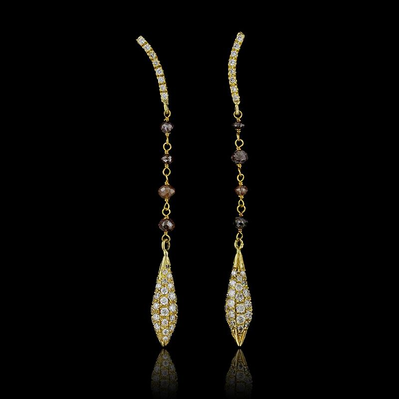 Yvel 18K Yellow Gold Diamond and Brown Diamond Earrings
