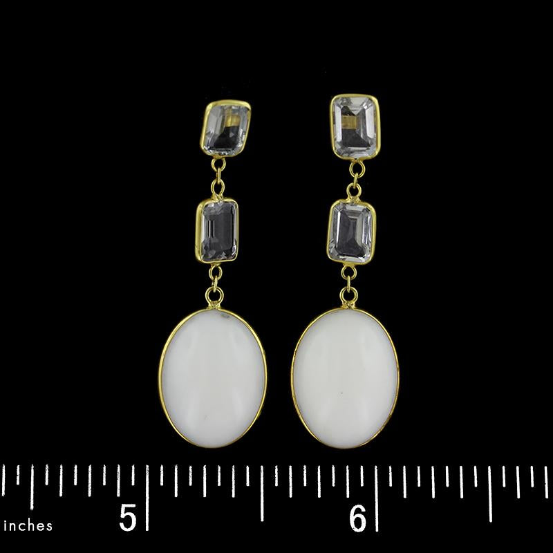 18K Yellow Gold White Opal and White Topaz Drop Earrings