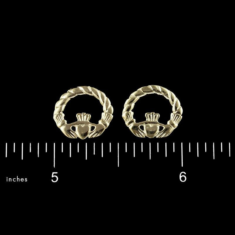 14K Yellow Gold Claddagh Earrings