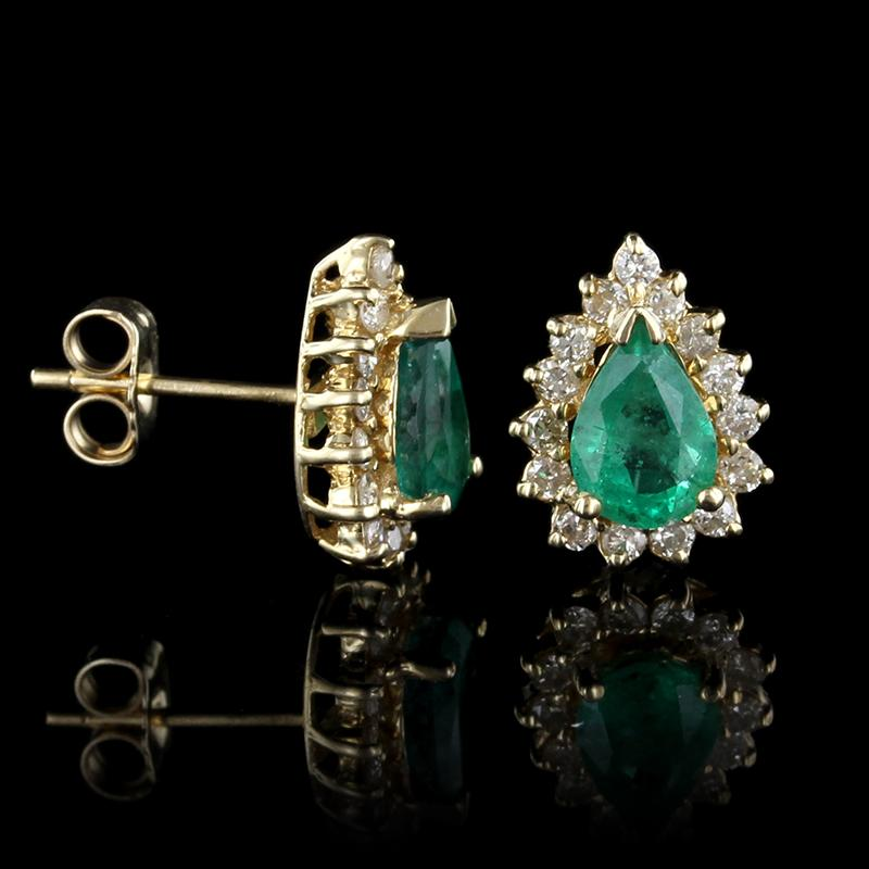 14K Yellow Gold Emerald and Diamond Earrings