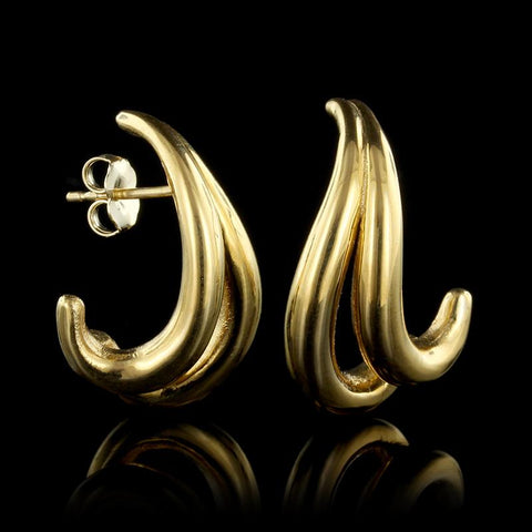 18K Yellow Gold Estate Earrings