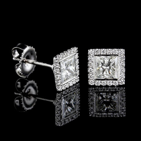 Kwiat 18K White Gold Estate Diamond Halo Earrings