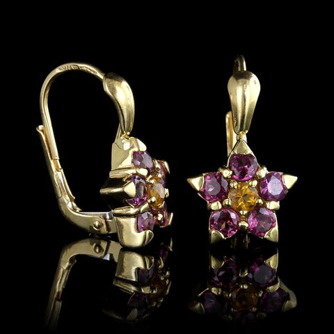 18K Yellow Gold Garnet and Citrine Flower Earrings