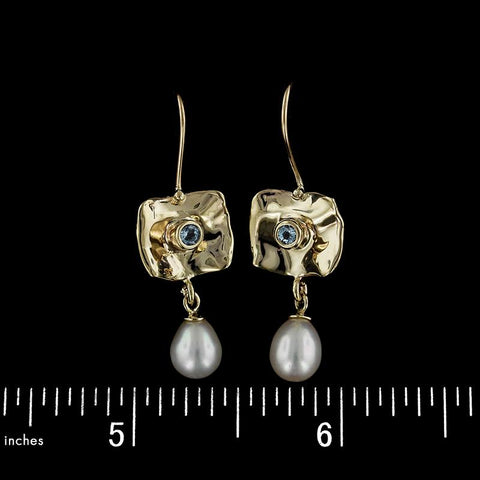 14K Yellow Gold Freshwater Pearl and Blue Topaz Earrings