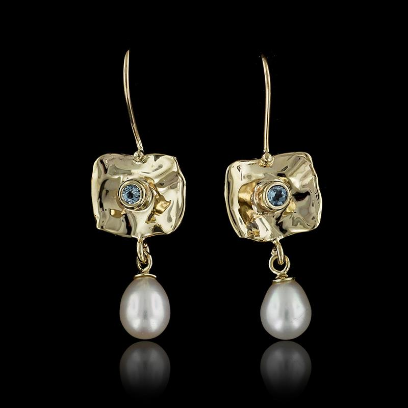 14K Yellow Gold Cultured Freshwater Pearl and Blue Topaz Earrings