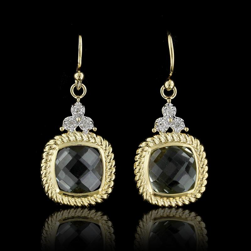 14K Yellow Gold Green Quartz and Diamond Earrings