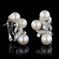 14K White Gold Pearl and Diamond Earrings