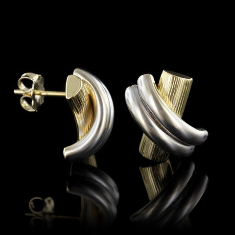 14K Two-Tone Gold 'X' Earrings