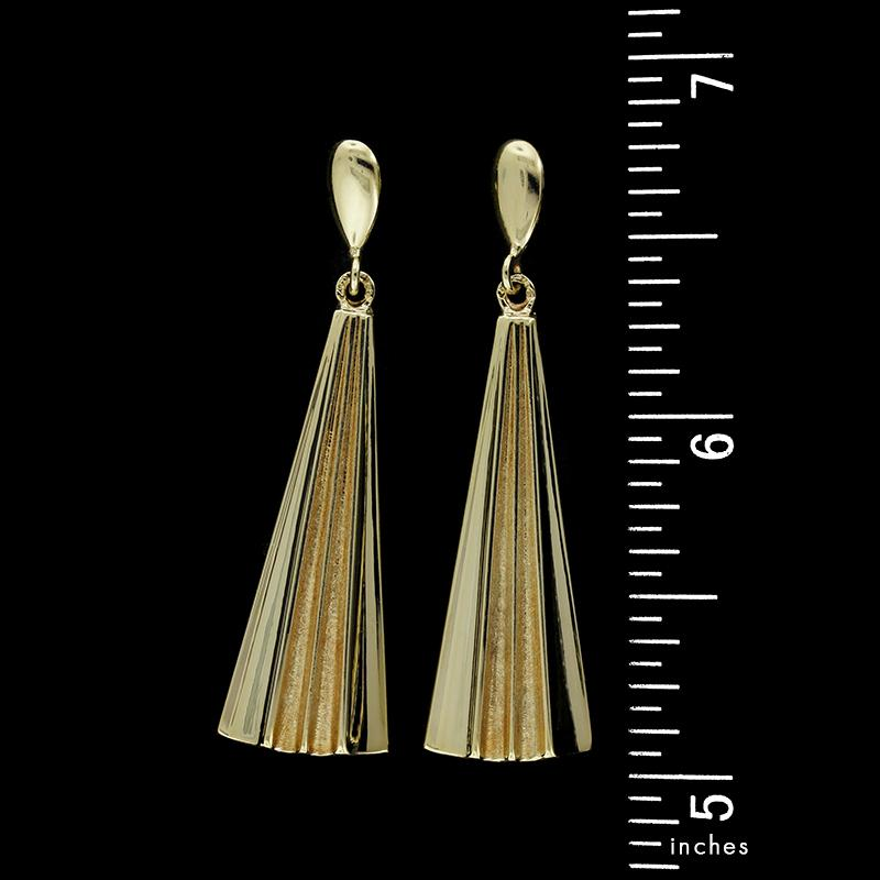 14K Yellow Gold Fan Drop Earrings
