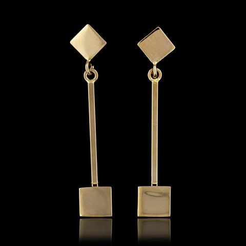 18K Yellow Gold Cube Earrings