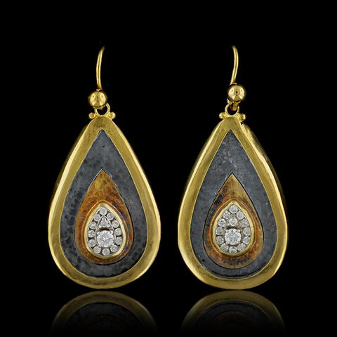 Gurhan 24K Yellow Gold and Silver Diamond Teardrop Earrings