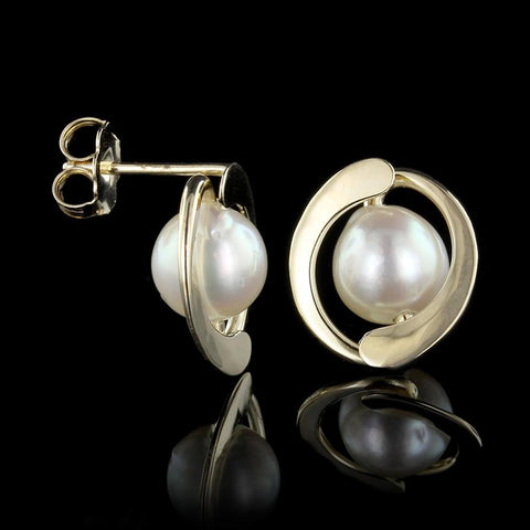 Tom Kruskal 14K Yellow Gold Cultured Pearl Earrings