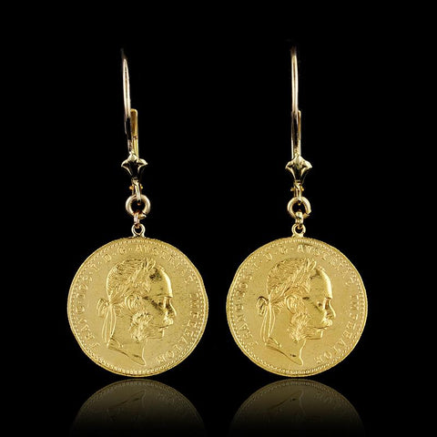20K Yellow Gold Austrian Ducat Coin Earrings