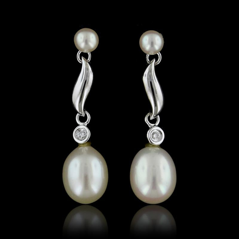 14K White Gold Freshwater Pearl and Diamond Earrings