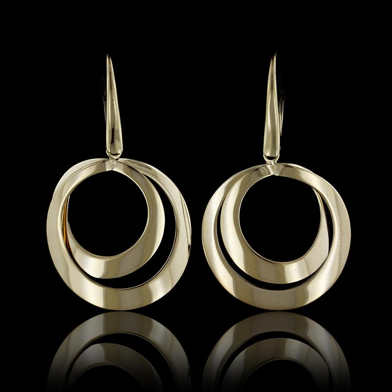 14K Yellow Gold Circle Earrings