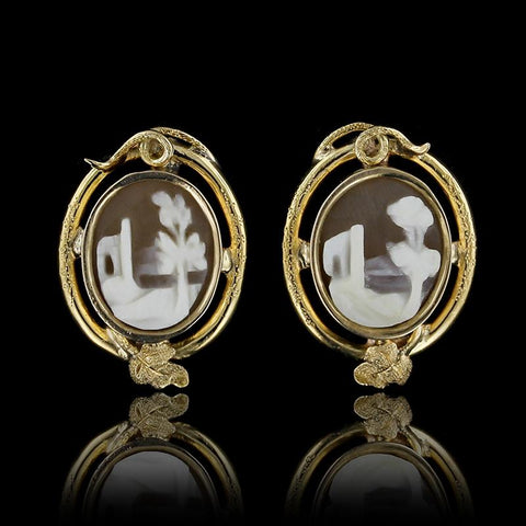 14K Yellow Gold Cameo Earrings
