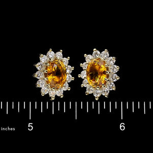 14K Yellow Gold Estate Yellow Sapphire and Diamond Earrings