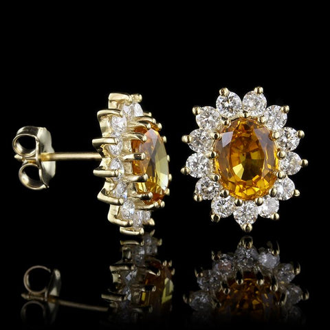 14K Yellow Gold Yellow Sapphire and Diamond Earrings