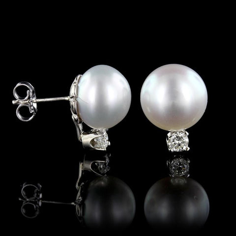 14K White Gold Button Pearl and Diamond Earrings
