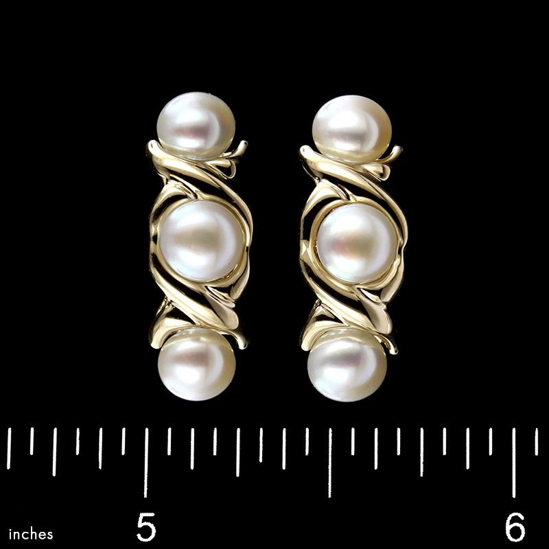 14K Yellow Gold Cultured Button Pearl Earrings