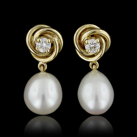 14K Yellow Gold Freshwater Pearl and Diamond Earrings