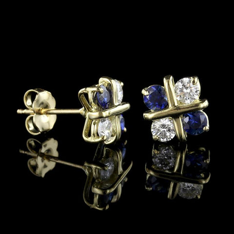 18K Yellow Gold Sapphire and Diamond Earrings