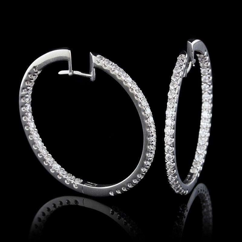 18K White Gold Estate Diamond Inside Out Hoop Earrings