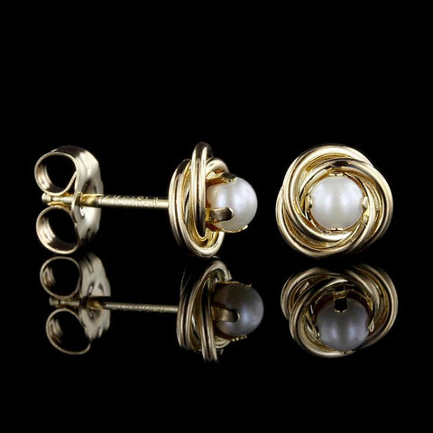 14K Yellow Gold Cultured Pearl Knot Earrings