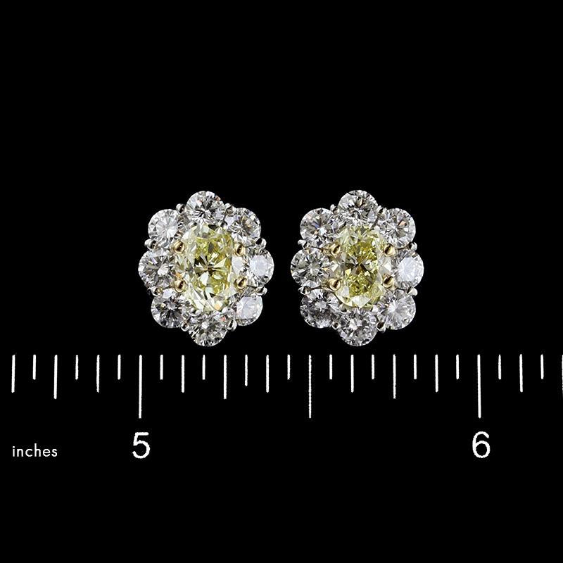 Platinum, 18K Yellow Gold Fancy Light Yellow and Fancy Yellow Diamond Earrings