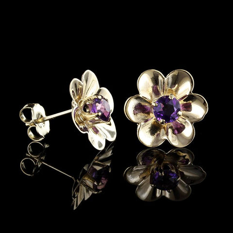 14K Yellow Gold Amethyst Flower Earrings